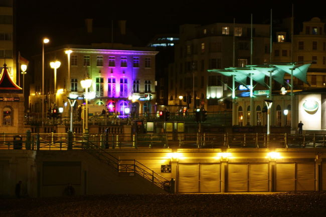 Bright Bright Colors Brighton Building Exterior Built Structure Night Night Lights Night View Nightphotography