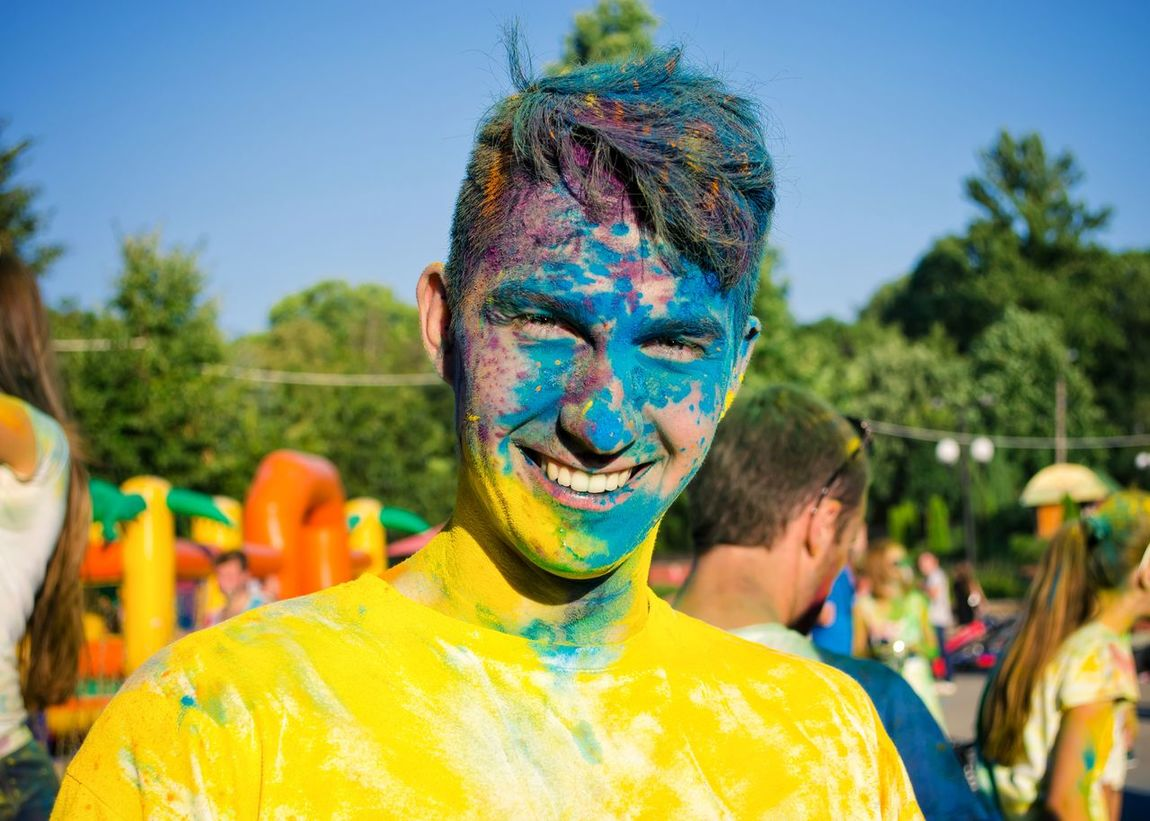 Color run in Ivano-Frankivsk Leisure Activity Outdoor Photography Sport In The City Youth Of Today Ukraine Ivano-frankivsk Color Run Celebration Cheerful Blue Color Yellow Lifestyles Party - Social Event Toothy Smile Enjoyment Happiness Smiling Face Paint Fun Multi Colored Summer Sport Outdoor People Looking At Camera The Portraitist - 2017 EyeEm Awards