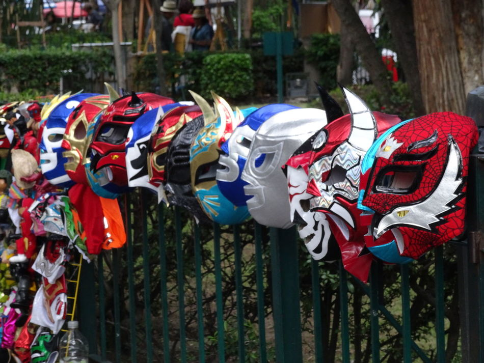 Ciudad De México Colorful In A Row Lucha Libre Luchador Masks Mercado Mexiko Stadt Multi Colored San Angel Side By Side Sábado