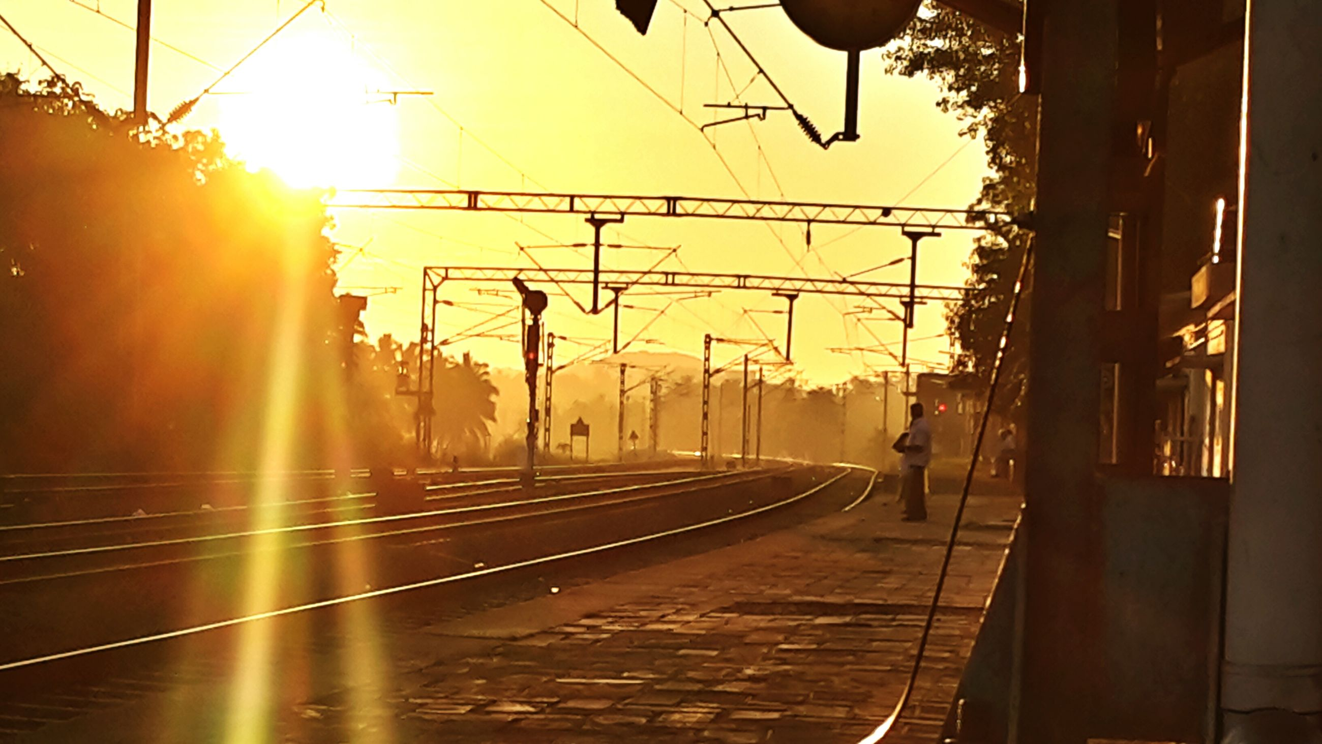 sunset, sun, sunlight, transportation, street light, tree, silhouette, power line, lens flare, sunbeam, sky, street, electricity pylon, orange color, built structure, clear sky, building exterior, the way forward, road, city