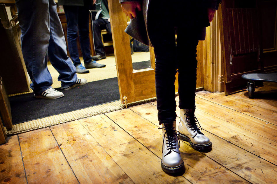 Boots Doc Martens Dr. Martens Flooring Hardwood Floor Illuminated Lifestyles S Shoes Silver  Silver Shoes Wood - Material First Eyeem Photo
