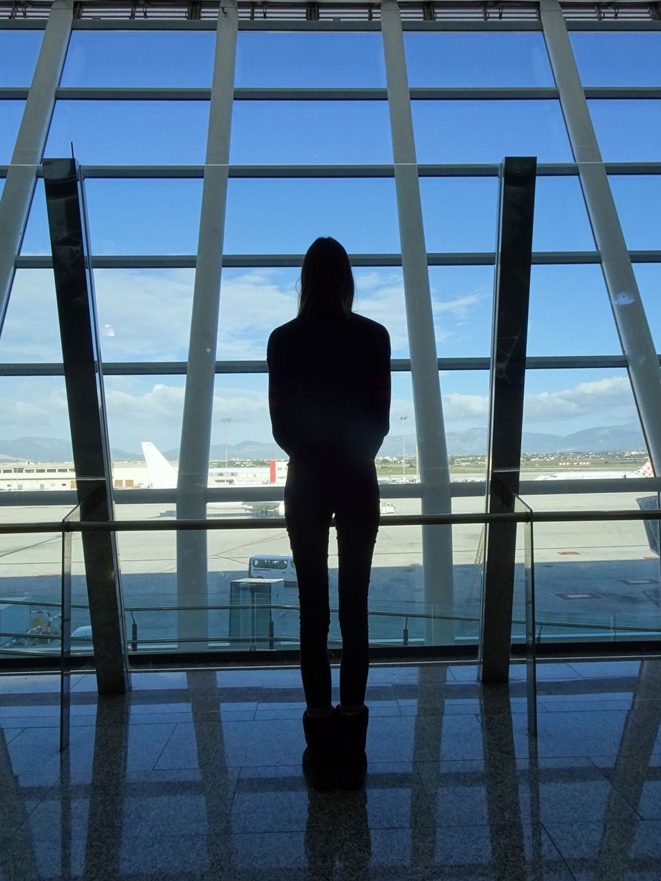 Standing between the lines One Person Silhouette Standing Waiting ... Lost Palma Airport PMI