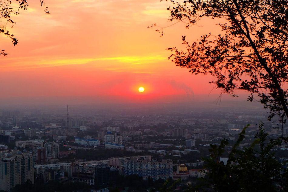 A Bird's Eye View Sunset Sun Cityscape Orange Color City Sky Architecture Beauty In Nature Romantic Sky Scenics Tranquil Scene Cloud - Sky Almaty Almaty City AlmatyMyFirstLove Almaty, Kazakhstan Kazakhstan Kazakhstan♥ Central Asia