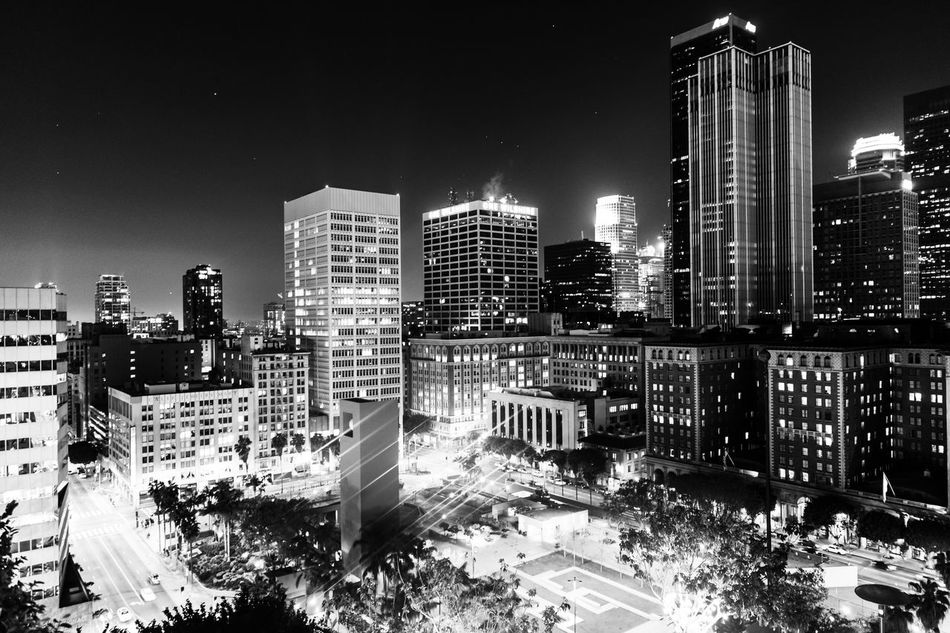 Los Angeles Downtown, CA Architecture Art Black And White Blackandwhite Building Exterior Built Structure City City Life Cityscape Clear Sky Enjoying Life EyeEm Best Shots EyeEm Gallery Hanging Out Hello World Illuminated Modern Monochrome Night No People Outdoors Sky Skyscraper Travel Destinations Urban Skyline