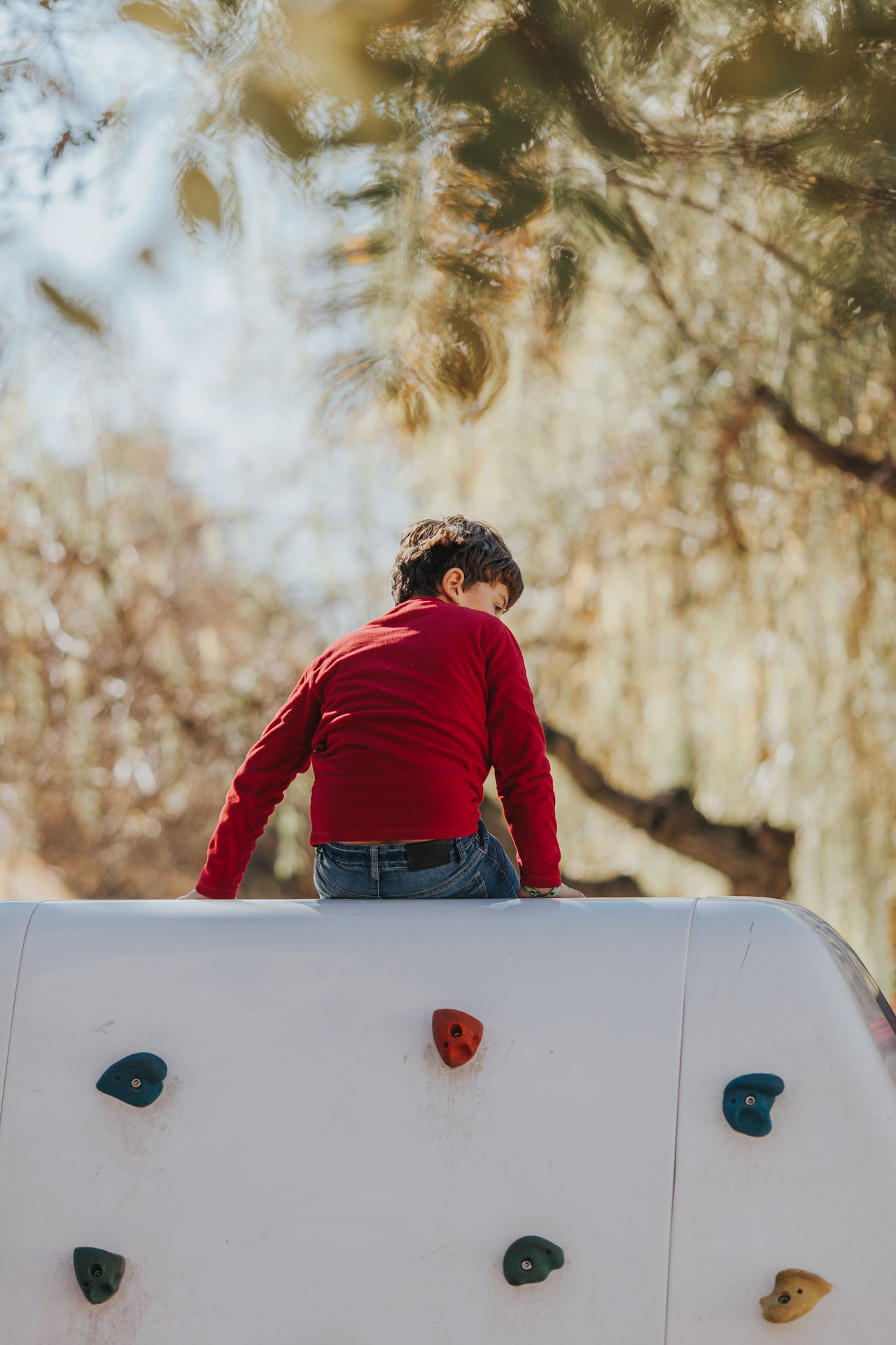 Kids Kids being kids Kids playing bokeh bokeh photography childhood climbing day kid kidsphotography leisure activity lifestyles Nature one person outdoors people real people Rear view sky Tree warm clothing young adult
