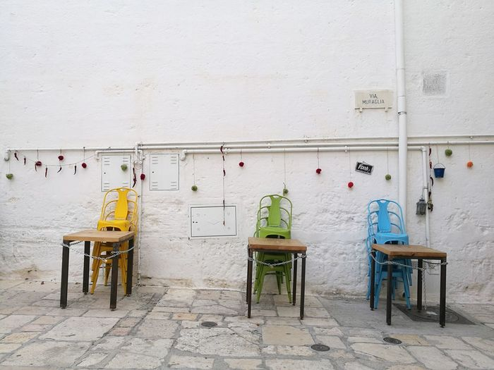 EyeEm Selects No People Chair Furniture Enjoy Colors Italy Italia Letstravel Day Polignano A Mare Sunlight Look Around  Colorful Chairs
