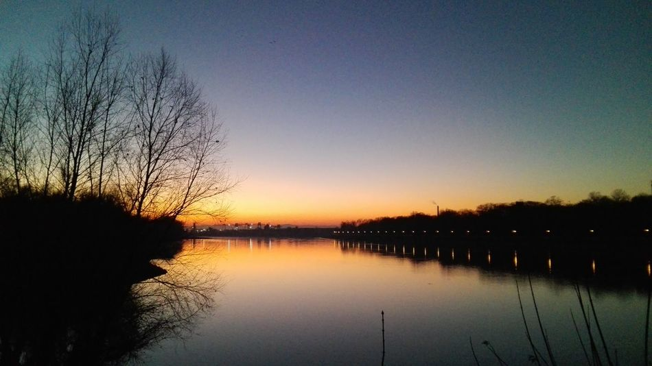 Mannheim Reflection Sunset Sky Nature Water Outdoors Rhine