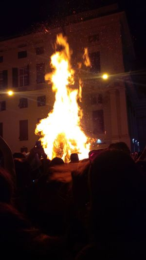 Flame Heat - Temperature Large Group Of People Light Night Outdoors People Sky