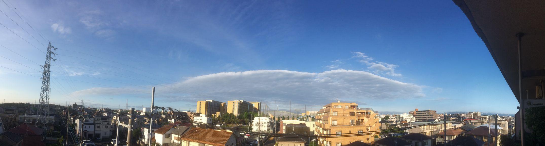 今朝は青空!!*\(^o^/* すご〜い雲!! イマソラ ノンフィルター パノラマ 空 雲 鉄塔 青空