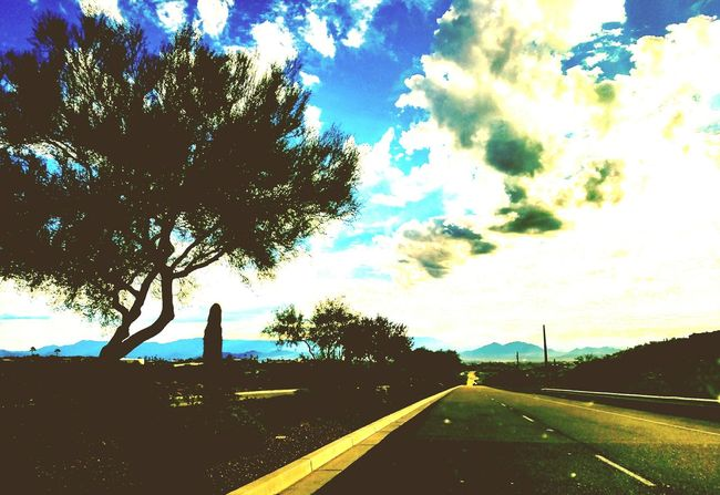 Diminishing Perspective Vanishing Point Road Marking The Way Forward Transportation Road Cloud Tree Sky Solitude Day Tranquil Scene CaptureTheMoment Arizona Desert Cloudscape Daylife Full Frame Take A Break Arizona Landscape Beauty