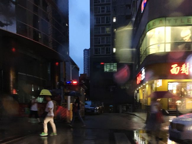 Night City Street Building Exterior City At Night Shenzhen Stormy Weather Rainy Day Light And Shadow Cityscape IPhoneography Man Walking Buildings & Sky