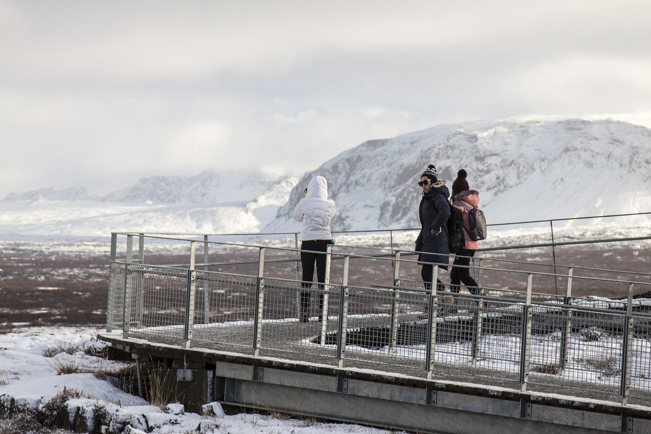 Cold Temperature Iceland Mountain Mountain Range Nature Outdoors Real People Scenics Snow Thingvellir National Park Travel Warm Clothing Winter Winter þingvellir Þingvellir National Park