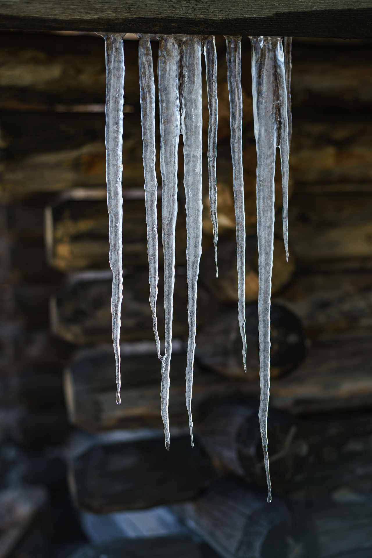 Icicles on an old wood cabin in Alto Campoo, Cantabria, Spain Cold Cool Frozen Ice Icicles Log Cabin Low Key Lighting Minimal Nature Simple Vertical Water Weather Winter