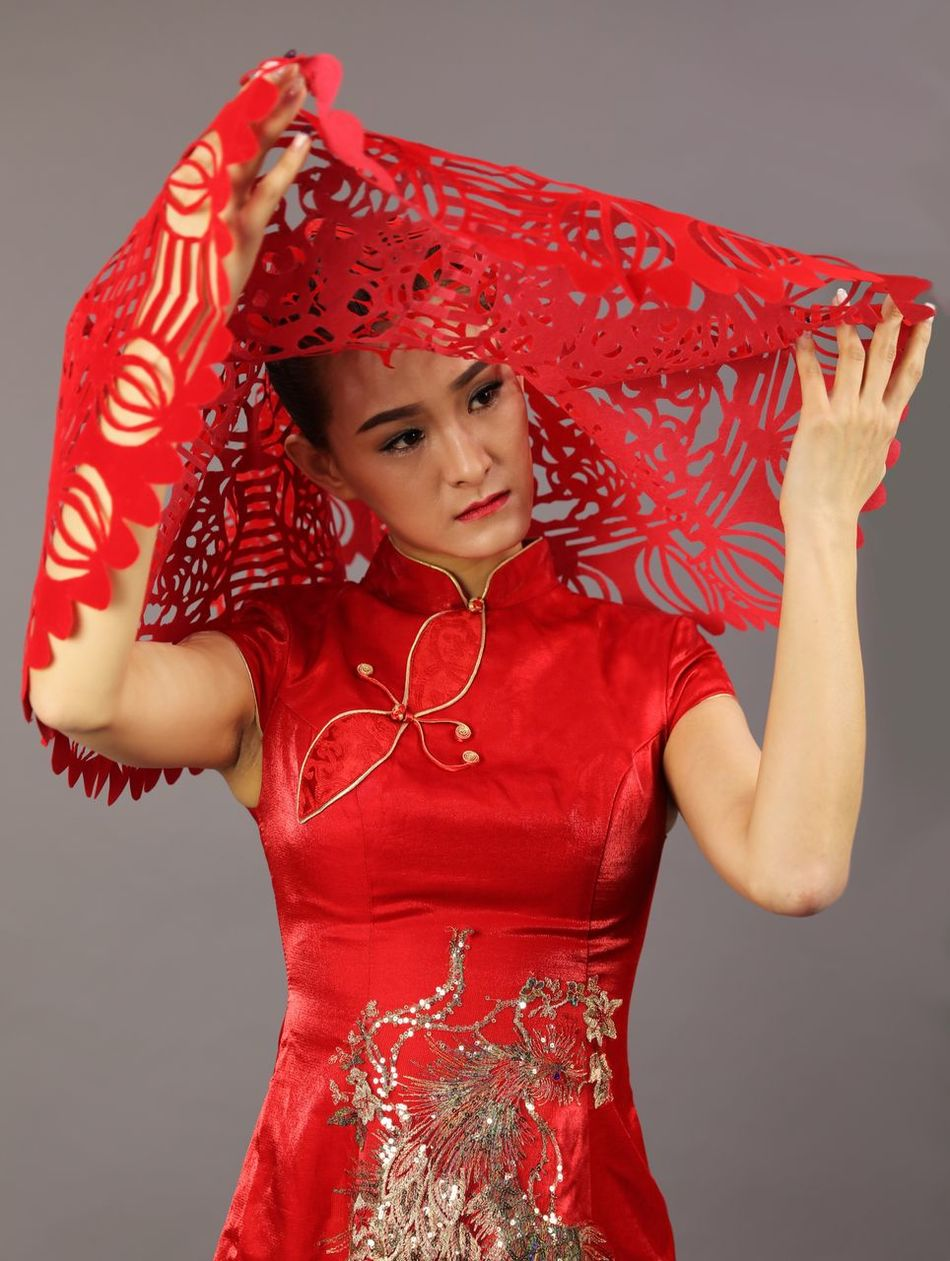 Lift Your Veil Red One Person Front View Beauty