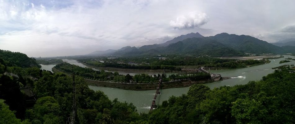 Dujiangyan Sichuan Province Valley Environmental Conservation Agriculture Tree Social Issues Landscape Hill Nature Environment Cloud - Sky Forest Field Plant Tea Crop Lake No People Scenics Beauty Sky Irrigation Equipment