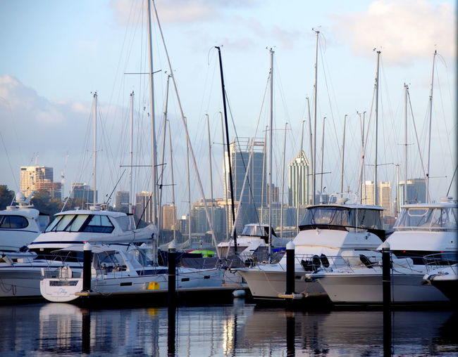 Abundance Boat Cloud Cloud - Sky Crawley Day Harbor Large Group Of Objects Mast Matilda Bay Restaurant & Bar Mode Of Transport Moored Nautical Vessel No People Ocean Perth CBD Sailboat Sea Sky Transportation View From The Window... Waterfront