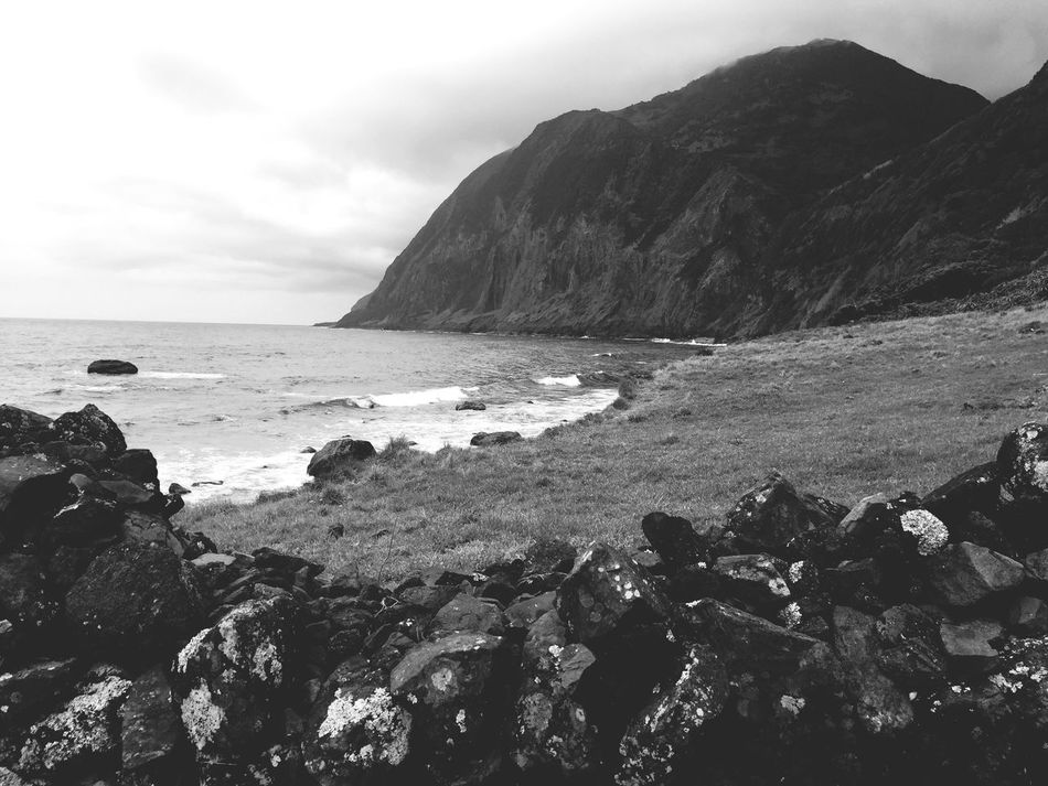Sea Rock - Object Nature Beauty In Nature Water Scenics Rock Rock Formation Tranquility Tranquil Scene Sky Horizon Over Water Outdoors Mountain No People Day Black And White Black & White IPhone Photography Ocean View Azores Calmness Vaction Quiet Moments Nature