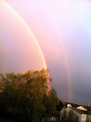 double rainbow at Hauptbahnhof Mülheim (Ruhr) by Christine