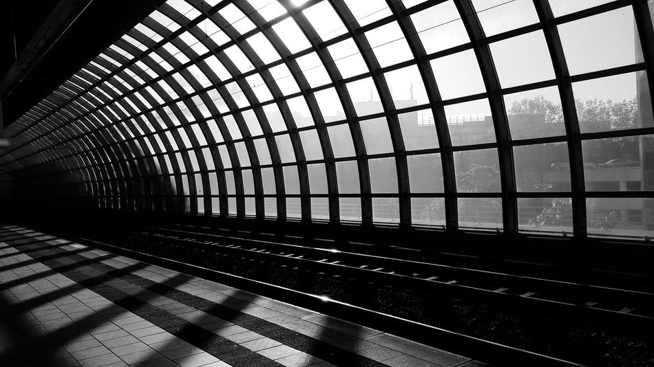 Indoors  Rail Transportation Metal Window Transportation No People Built Structure Architecture City Day Steel Train Station City Life Blackandwhite Black And White Black & White Blackandwhite Photography Black And White Photography Black&white On My Way To Work On My Way Ludwigshafen
