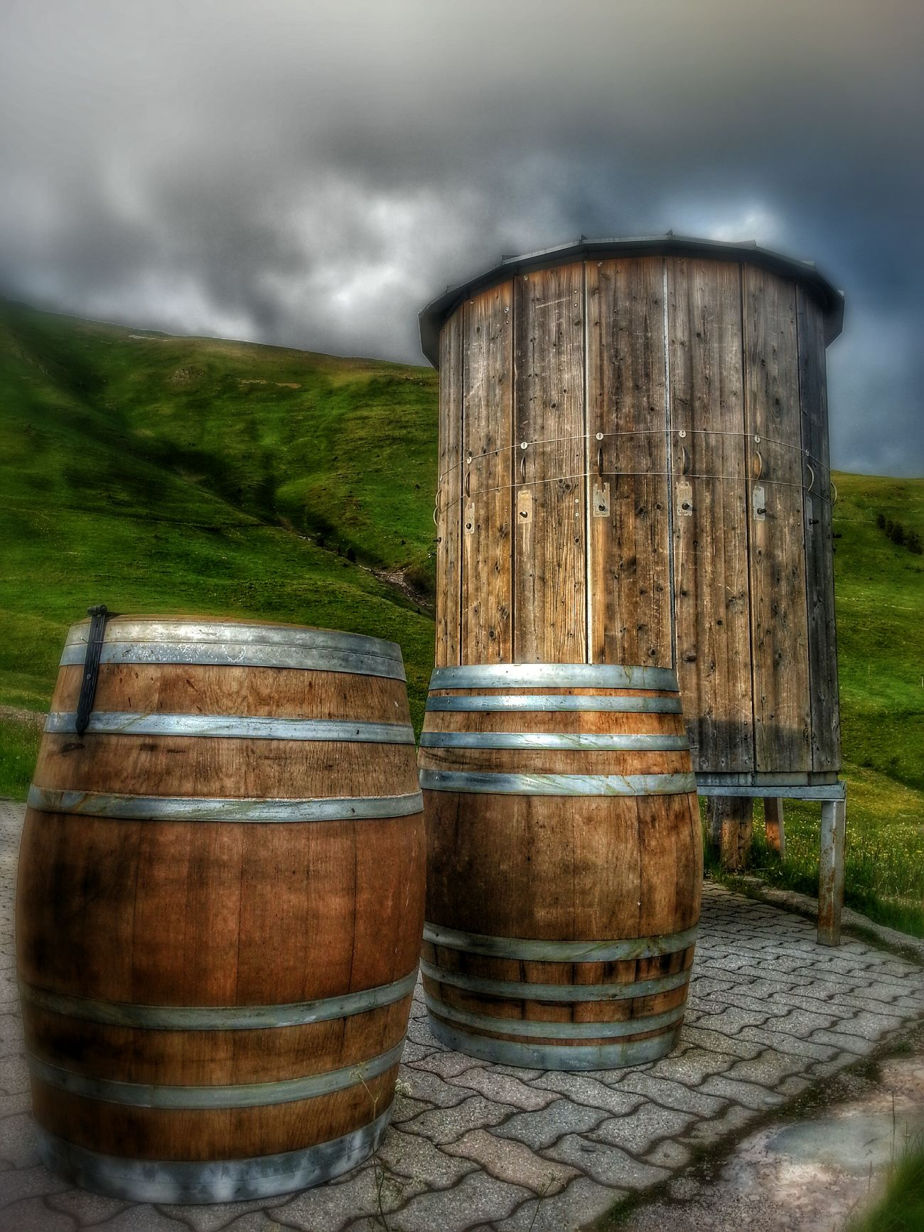 Barrel Wine Mountain Clouds