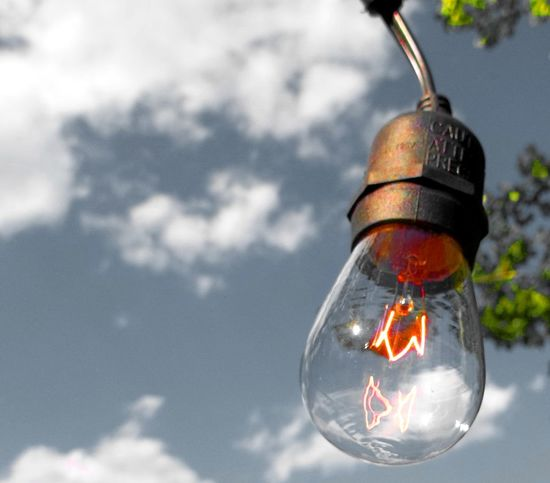 Bright Idea Close-up Day Electricity  Eureka Focus On Foreground Hanging Idea Incandescent Light Bulb No People Outdoors Sky