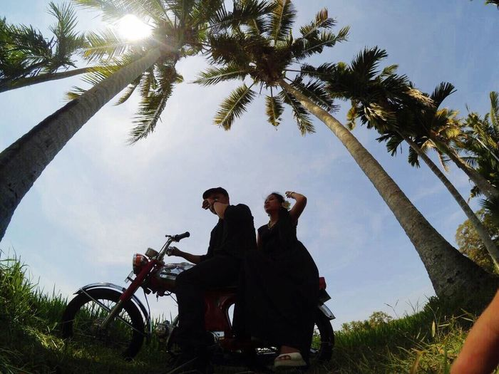 me and my wife ride my old school motorcycle Eyefish Lifestyles Tree Sky Transportation Landscape