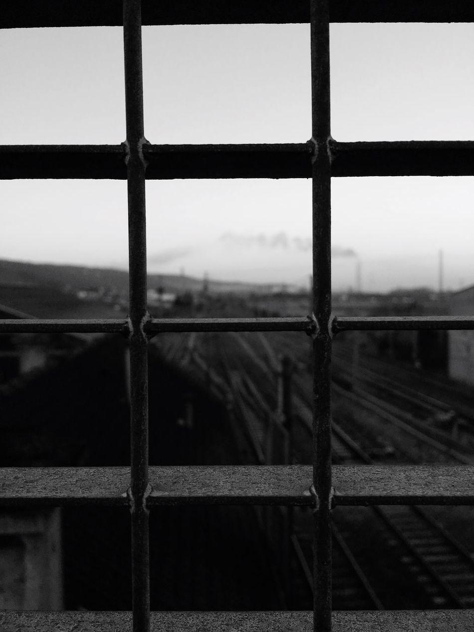 Question sérieuse qui suppose une réponse : qu'est-ce que la liberté ? Metal Day Focus On Foreground Railing Sky Cage Grillage Noiretblanc Blackandwhite Black And White