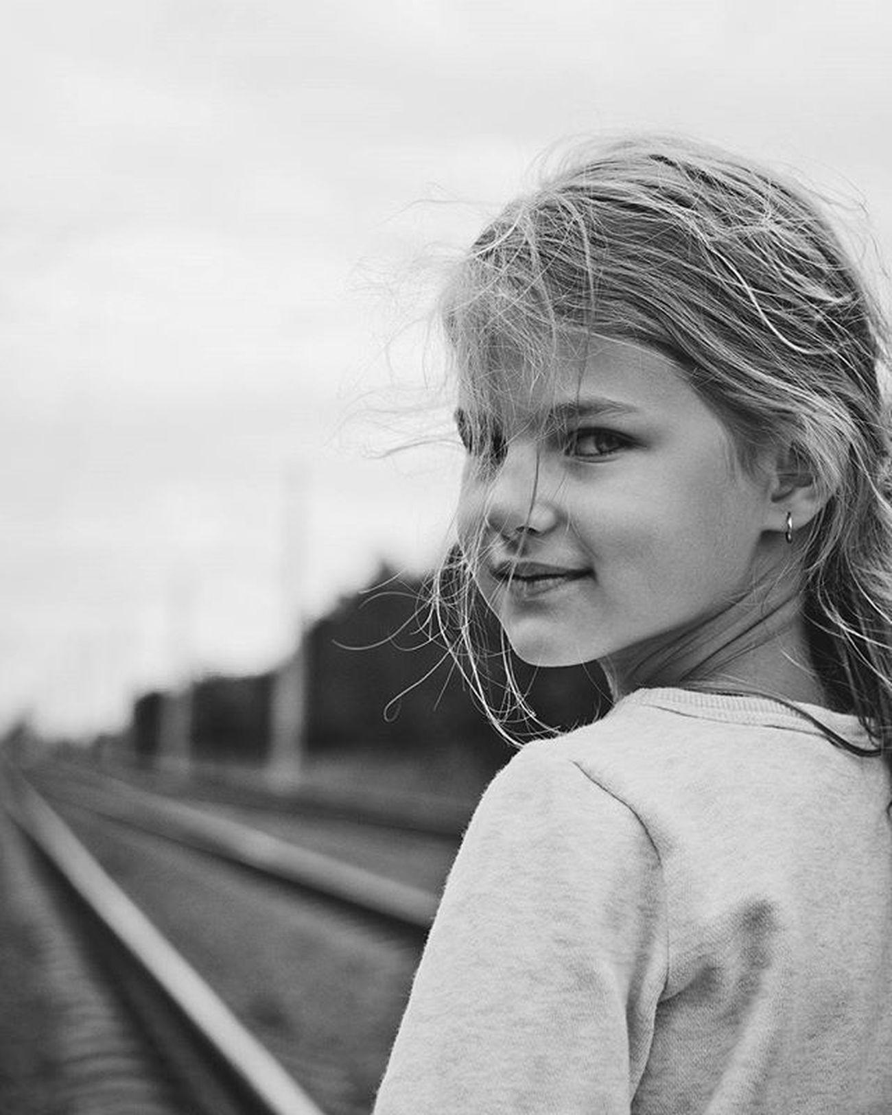 Daughter Girl Children Child Blackandwhite Monochrome Hair View Look Rails Beauty Portrait