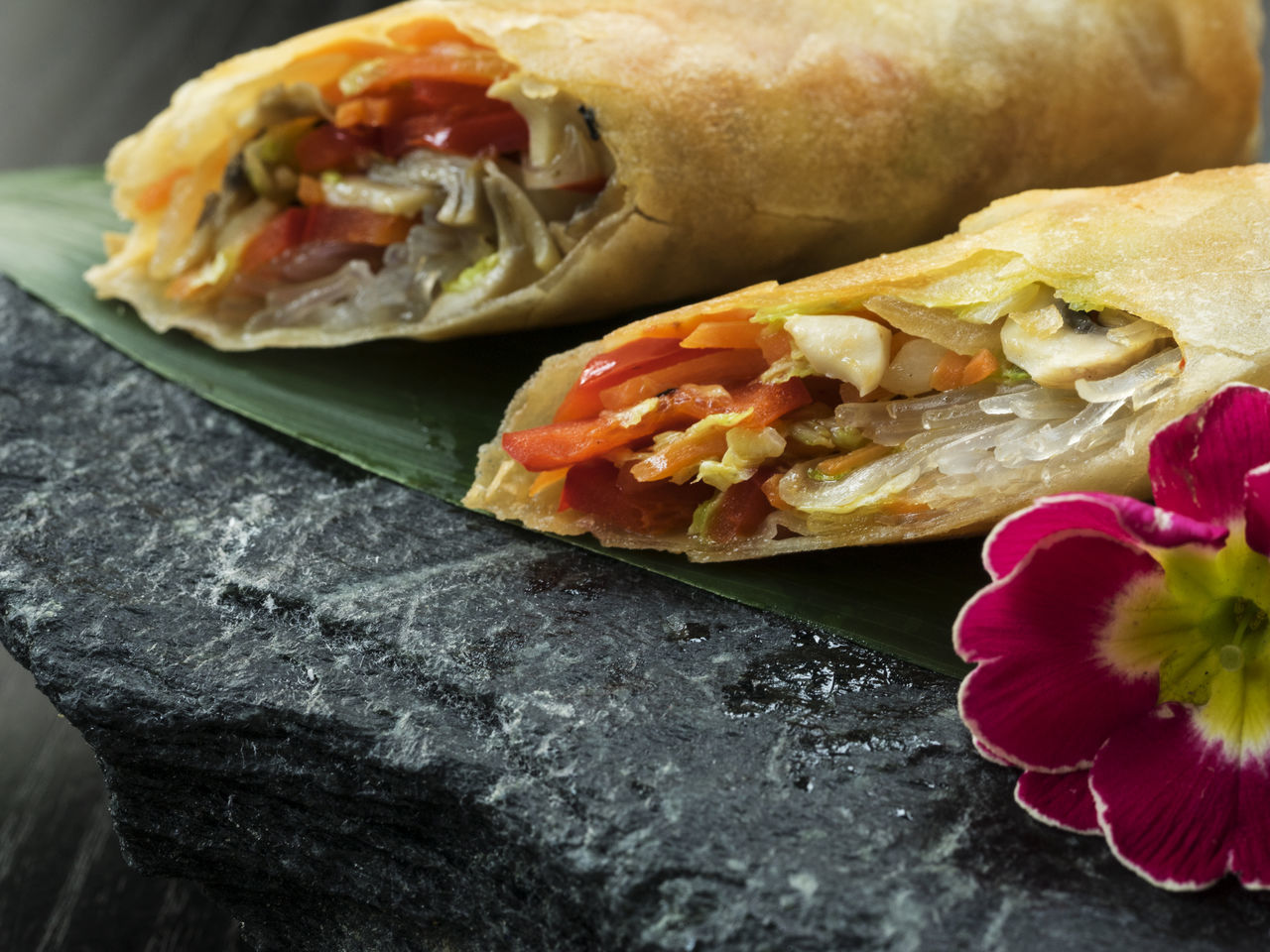 Asian-style Pancakes crunchy with vegetable filling, served on slate Asian  Asian-style Black Close-up Crunchy Day Fast Food Filling Flower Food Freshness No People Pancakes Ready-to-eat Red Sandwich Served Slate Stone Style Unhealthy Eating Vegan Vegetable Vegeterian