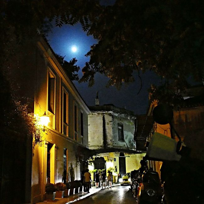 Plaka, Athens Stree Photography Full Moon beautiful evening in My Hellas she is alive, she will survive