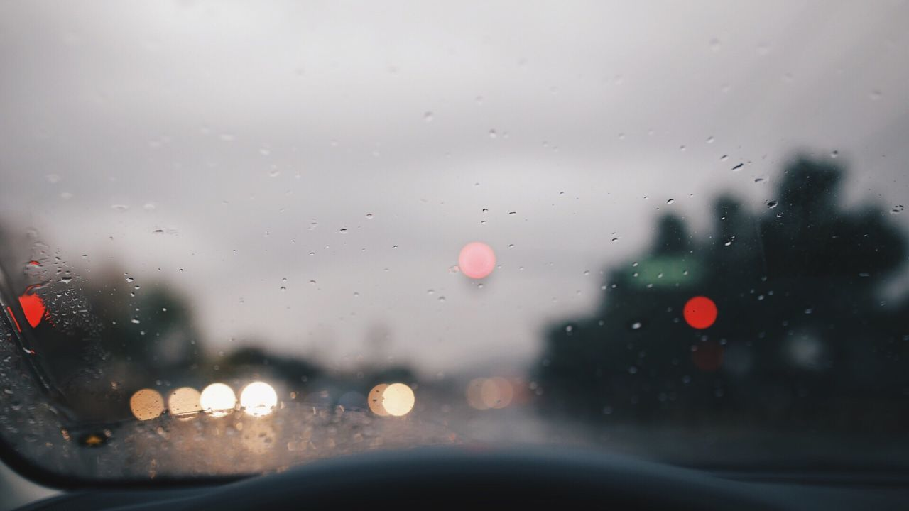Window Car Windshield Street Rain Bokeh