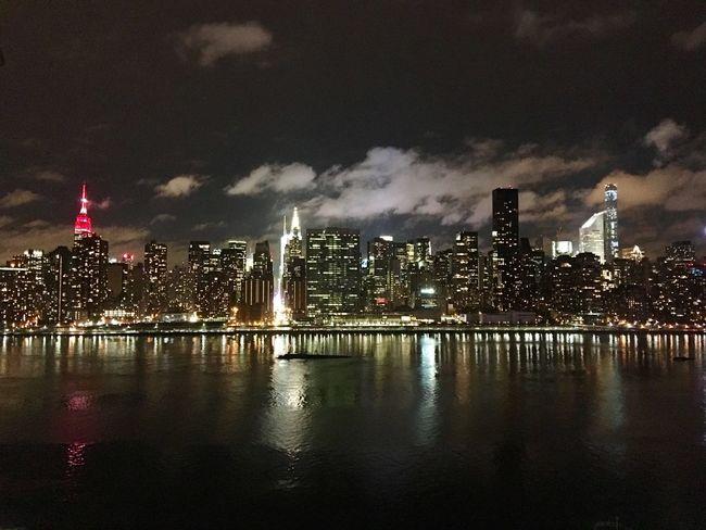 NYC skyline on a cold night.