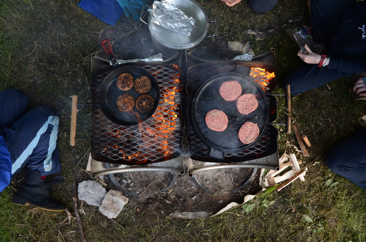 Barbecue Barbecue Grill Beef Burgers Burning Camping Directly Above Fire Fire Barrel Flame Food Food And Drink Heat - Temperature High Angle View Meat Outdoors Preparation  Smoke The Great Outdoors - 2017 EyeEm Awards