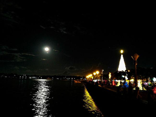 Christmas tree Christmas Tree Palawan Puerto Princesa City Palawan Philippines Night Illuminated Moon Sky Street Light Outdoors City No People Astronomy