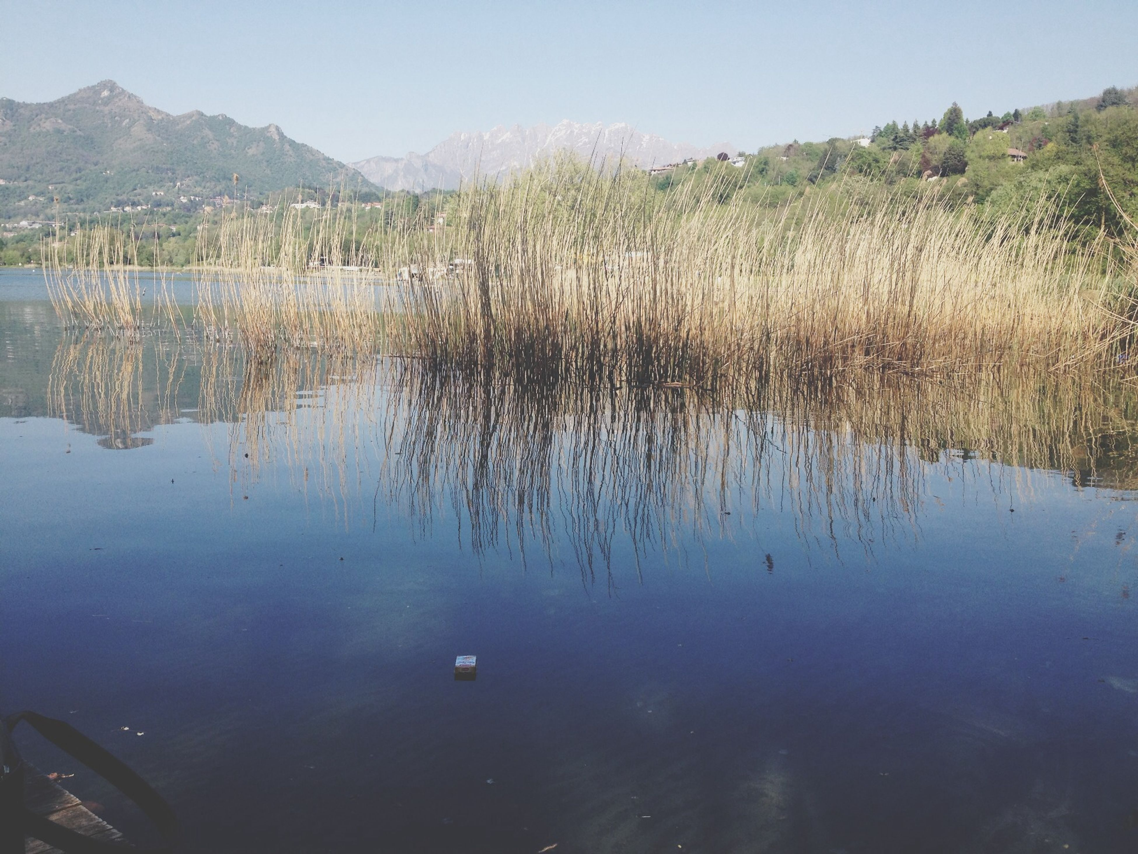 water, reflection, lake, tranquility, tranquil scene, scenics, waterfront, beauty in nature, nature, clear sky, mountain, standing water, sky, idyllic, tree, calm, non-urban scene, day, outdoors, no people
