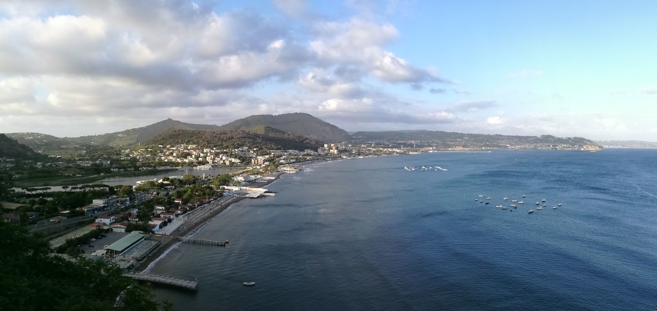 Sea Beach Cloud - Sky Outdoors Bacoli Panoramic View Sky Panorama Original Photography Nofilter No People Horizon Over Water Napoli Tranquility EyeEm Nature Lover Beauty In Nature Sunset Huawey P9 Napoliphotoproject