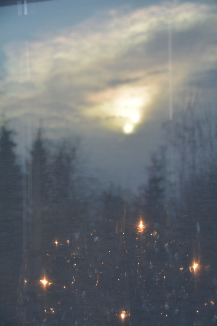 illuminated, no people, nature, burning, night, winter, tranquility, outdoors, cold temperature, tree, beauty in nature, snow, scenics, sky