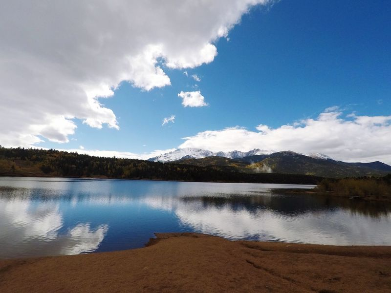 Pikes Peak Summit Lake Scenics Sky Cloud - Sky Beauty In Nature Tranquil Scene Tranquility Mountain Nature Water Reflection No People Day Outdoors Mountain Range Landscape Tree