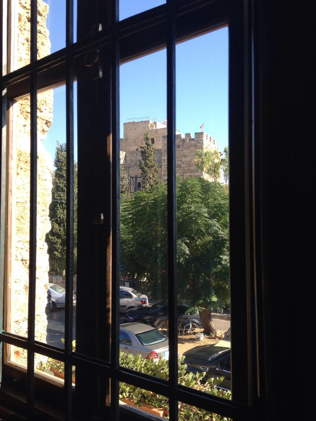 Through The Window Eating Lunch Byblos Crusadercastle Lebanon