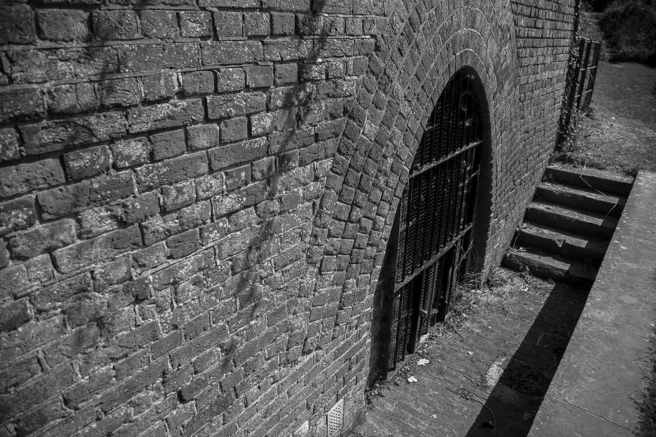 Hilsea Lines Ramparts Ancient Monument. Ancient Monument Architecture Bastion Bastion 3 Black & White Black And White Blackandwhite Brick Wall Building Built Structure Day Empty Expense Magazine HDR Hdr_Collection Hilsea Hilsea Lines Hilsea Lines Ramparts Military Trail No People Outdoors Portsmouth Ramparts