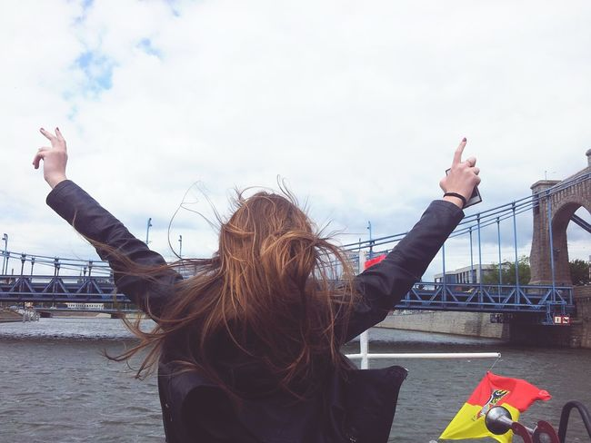 On Top Of The World Sylwia Enjoying Life Hello World Leather Jacket Free Wildlife Boat River Taking Photos