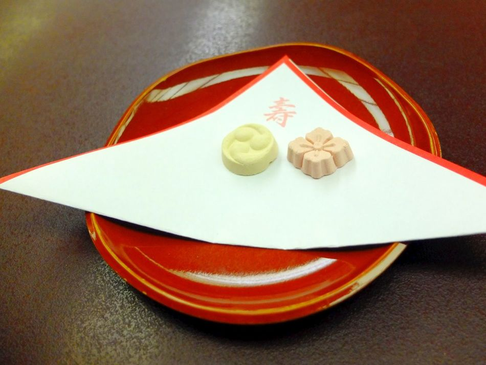 Higashi, a type of dry Japanese sweets (wagashi) Candy Close-up Day Food Food And Drink Freshness Indoors  Japan Japanese  Japanese Food Japanese Foods Japanese Style Laquer No People Plate Ready-to-eat Red Sweet Sweets Table Tokyo Traditional Wagashi