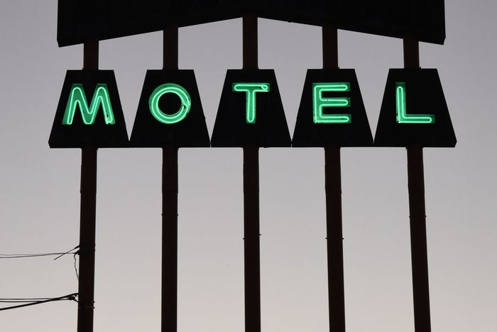 Googie Capital Letter Illuminated Low Angle View Motel Motel Sign Neon Neon Color Neon Life No People Outdoors Text Turquoise The Week On EyeEm