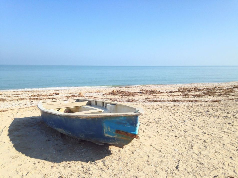 Sea Beach Horizon Over Water Sand Nature Clear Sky Tranquil Scene Water Shore Scenics Beauty In Nature Tranquility No People Day Outdoors Sky Blue Adriatic Sea Nautical Vessel Boat Abandoned White And Blue Clear Sky Rusty Blue Sea