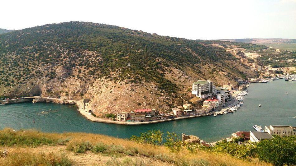 Бухта Балаклавы. пейзаж город Море горы Landscape Urban Sea Mountains Shore Nature High Angle View