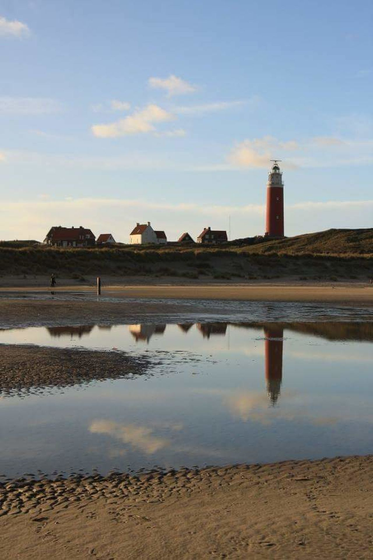 Texel  Texelstrand Built Structure Sky No People Reflection Water Sea Seashore Sand Dune Outdoors Nature Lighthouse Red Color