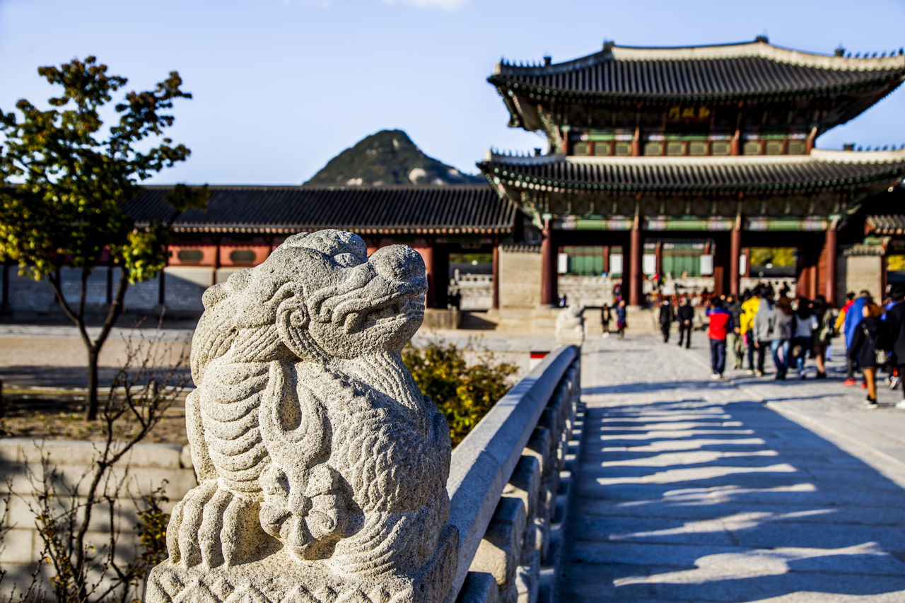 Architecture Building Exterior Built Structure Cultural Asset Cultures Day Famous Place Famous Places Gyungbok Palace Historic History Ornate Outdoors Perspective Place Of Worship Railing Religion Roof Selective Focus Spirituality Steps Temple - Building Travel Destinations UNESCO World Heritage Site