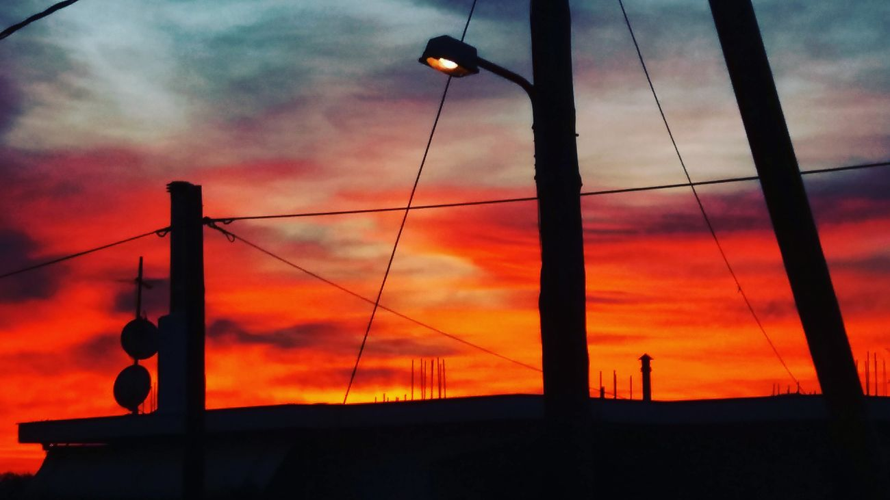 Sunset Sky Dramatic Sky Cloud - Sky Magical Moment Colors Colorful Purple Blue Orange City Light Neighborhood Peaceful Evening Shadowplay Shadows & Lights