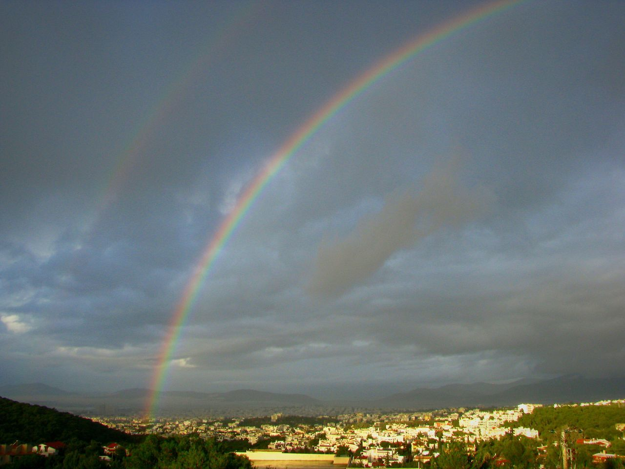 Adapted To The City Double Rainbow Double Rainbows Rainbow Rainbow Colors Rainbows Athens Greece City Urban Landscape Landscapes Beauty In Nature Landscape Cloudscape Sky Scenics Nature Rain Weather Dramatic Sky Cloud - Sky Storm Thunderstorm Clouds Cloudy Day