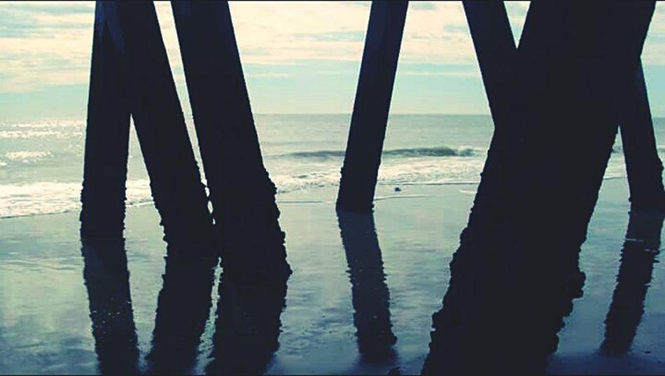 •Under the peir• Beach Beachphotography Beach Peir Sunset Light And Shadow